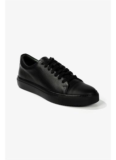 Krähe Corvo Siyah Deri Minimal Sneaker Siyah